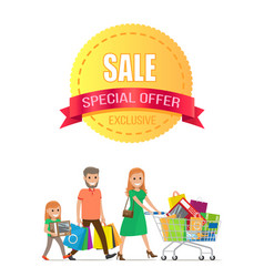 Sale special offer exclusive discount promo poster vector