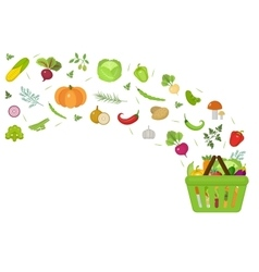 Shopping basket with fresh vegetables flat design vector