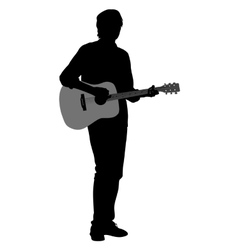 Silhouette musician plays the guitar vector image vector image