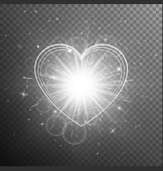 silver heart with light effects vector image vector image