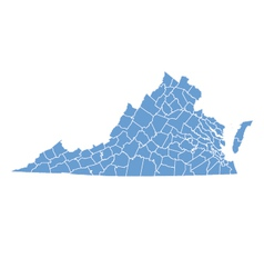 State map of virginia by counties vector
