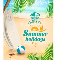 Summer holidays background surfing beach vector image