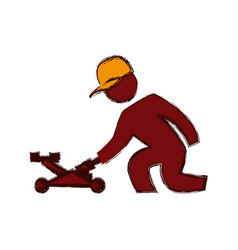 Worker mechanic silhouette vector