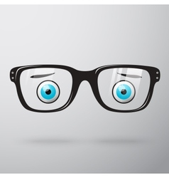Worried glasses with eyes vector
