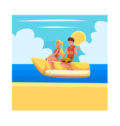Young couple man and woman riding banana boat vector