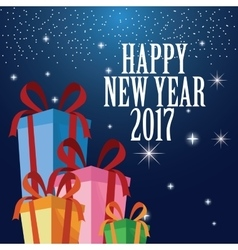Happy new year 2017 greeting card ed gift boxes vector