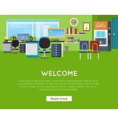 Welcome in office concept website template vector