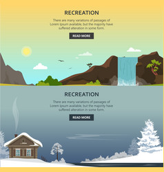 set of recreation posters banners in flat vector image