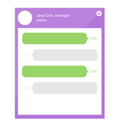 Flat design online chat with manager template vector