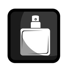 Square button with glass bottle spray lotion vector