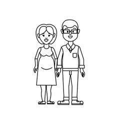Figure couple man with glasses and woman pregnant vector