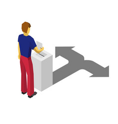 isometric 3d man put paper in election box vector image