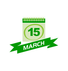 15 march calendar with ribbon vector