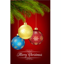 Christmas decoration with christmas tree and ball vector