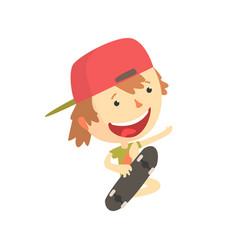 cool smiling cartoon skateboarder boy kids vector image