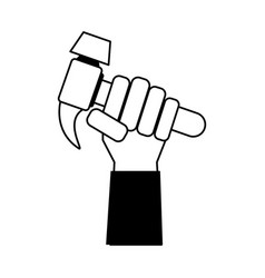 Hand holding hammer tool icon image vector