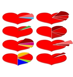 Set of Valentines Day infographics with heart vector image