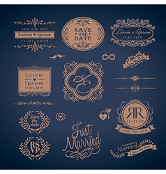 Vintage style wedding symbol border and frame vector
