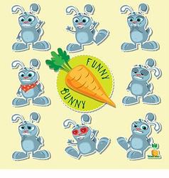 Emotional bunnies beautiful set vector