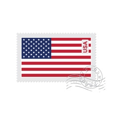 Us flag old postage stamp vector