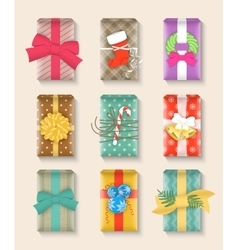 Christmas gift boxes bright colorful set vector