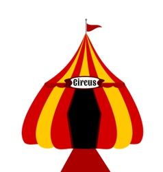 Circus tent yellow and red vector