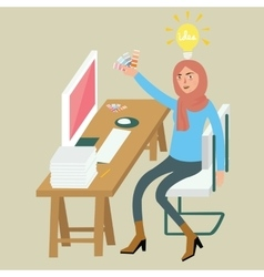 Woman female graphic designer creative idea on vector