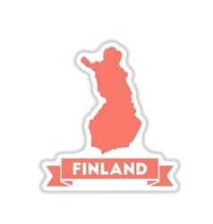 Paper sticker on white background finland map vector