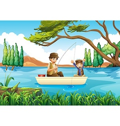 Father and son fishing in the lake vector