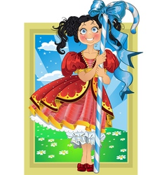 Small brunette girl with candy on fairytale vector
