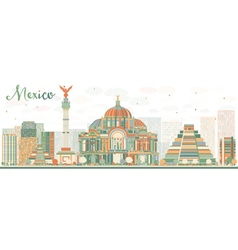 Abstract mexico skyline with color landmarks vector