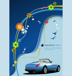 Blue business background with car image vector