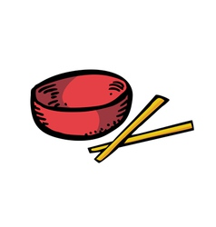 bowl and chopstick vector image