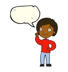 Cartoon boy with idea with speech bubble vector