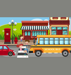 City scene with children crossing the street vector