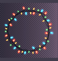Colorful round frame of christmas lights sparkling vector