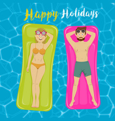 Couple floats on inflatable mattresses in pool vector