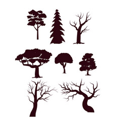 Deciduous forest trees silhouette set vector