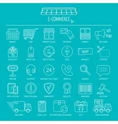 E-commerce icon set Line icons for business web vector image vector image
