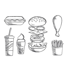 Fast food snacks and drink sketch icons vector