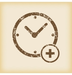 Grungy add time icon vector