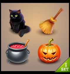 halloween icons-set 1 vector image