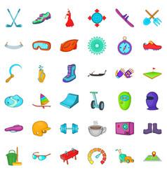 Healthy activity icons set cartoon style vector