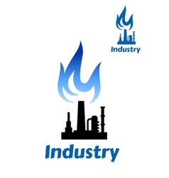 Industrial plant icon with blue flame vector