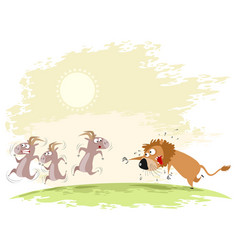 Lion catches goats vector