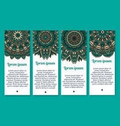 mandala ornament or paisley banners set vector image