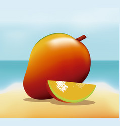 Mango fruit fresh harvest - beach background vector