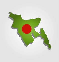 Map of bangladesh with in red and green colors vector