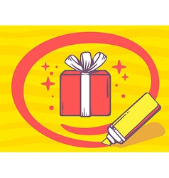 marker drawing circle around gift box on vector image vector image