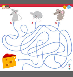 maze game with mouse characters vector image